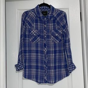 Rails Blue, White, Purple Long Sleeve top in Plaid
